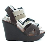 Benny By Classified, Open Toe Strappy Elastic Ankle Cuff Platform Casual Wedges Women Shoes