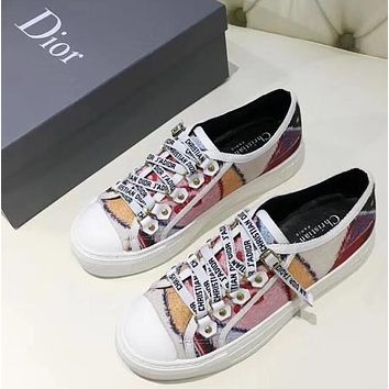 Dior  Coloured Gold Button White Letter Bandage Casual Shoes