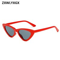 Small Cateye Triangle Sunglasses Sexy Women Brand Vintage Cat Eye Frame Tint Red Mirror Lens Sun Glasses Shades
