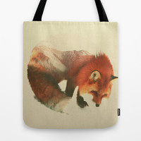 Snow Fox Tote Bag by Andreas Lie