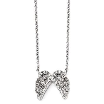 "Cheryl M Sterling Silver CZ Angel Wings 16"" Necklace"