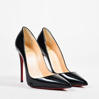 DCCK Christian Louboutin Black Patent Leather Pointed Toe  So Kate  Pumps