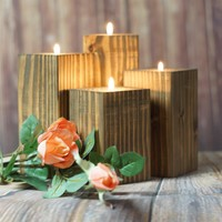 Wood Wedding candle, Rustic Home Decor