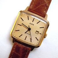 Vintage Russian Gold plated Watch Zarja 22 Jewels with date calendar