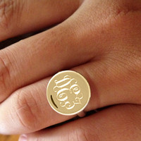 Gold Monogram Ring any Initial Ring, Personalized Ring gold plated 18k, Bridesmaids gift Engraved Ring