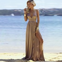2018 Solid Color Sexy V-neck Backless Beach Dress