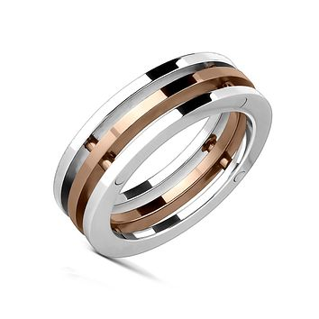 Gold Trinity - FINAL SALE Industrial Rose Gold Silver Triple Bolted Band Stainless Steel Ring