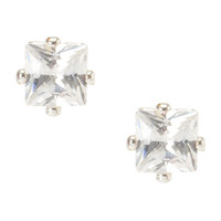 Square Cut Cubic Zirconia Magnetic Earrings