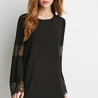 Eyelash Lace-Paneled Trapeze Dress
