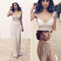 2016 Anna Campbell Lace Boho Summer Backless Wedding Dresses Cap Sleeves Crystal Beading Luxury Sexy Beach Bridal Party Gowns