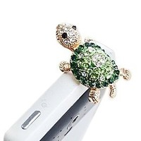 Dust Plug- Earphone Jack Accessories Crystal Lovely Green Turtle/ Cell Charms / Ear Jack for Iphone 4 4s / Ipad / Ipod Touch / Samsung Galaxy /LG Other 3.5mm Ear Jack