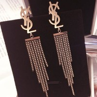 YSL temperament long style tassel earrings exaggerated personality earrings earrings earrings style earrings earrings earrings earrings earrings earrings earrings with simple women