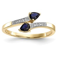 14K Gold w/ Diamond & Sapphire Polished Ring Y13873S/A