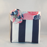 Pink and Navy Fabric Basket With Detachable Fabric Flower Pin For Storage Or Gift Giving