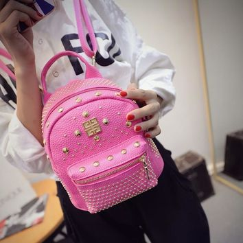 Comfort On Sale College Stylish Back To School Hot Deal Korean Bags Casual Mini Star Rivet Backpack [6582877703]