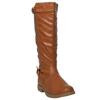 Womens Mid Calf Boots Casual Riding Western Double Adjustable Gold Buckles Tan
