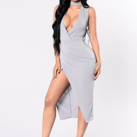 Play your Cards Right Dress - Grey