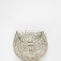 From St Xavier Silver Across Body Bag with Floral Embossing
