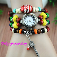 Beads series of bell,Vintage watch,Antique watch,Wrap watch, Halloween gifts RW24