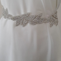 rhinestone, satin wedding belt, ivory, bridal belt,    wedding dress belt,    bridal accessories, handmade,    free shipping!