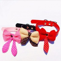 Cute Knit Bow Adjustable Leather Dog Puppy Cat Pet Collars Sizes XS S M