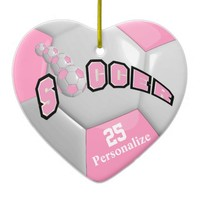 Pink Soccer Ball | Personalize Double-Sided Heart Ceramic Christmas Ornament