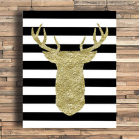 Deer Head In Faux Gold Foil With Stripes Art Print, Minimalist Art, Home, Office, Bathroom, Dorm, Work Decor, Nursery Art, Housewarming Gift