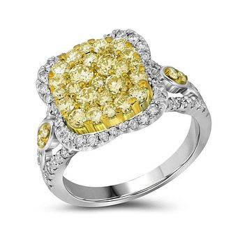 14kt White Gold Womens Round Canary Yellow Diamond Cluster Ring 1-5-8 Cttw