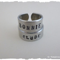 Bonnie and Clyde- Matching Hand Stamped Rings