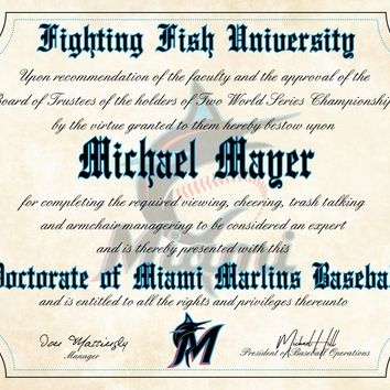 "Miami Marlins Ultimate Baseball Fan Personalized Diploma - 8.5"" x 11"""