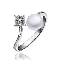 ZLYC Woman 18K White Gold Plated Alloy Delicate Artistic Olivet Statement Ring 1