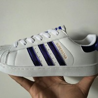 """""""Adidas Superstar"""" Unisex Fashion Casual Classic Stripe Shell Head Plate Shoes Couple Sneakers Small White Shoes"""