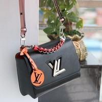 HCXX 19Aug 042 M50305 Louis Vuitton LV Lock Flap Bag Classic Chain Cambridge Satchel Handbag 23-18-8cm Black