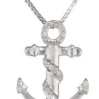 """Sterling Silver Diamond Anchor Pendant Necklace (1/10 cttw, I-J Color, I2-I3 Clarity), 18"""""""