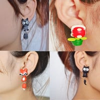 2015 Fashion Summer Style Handmade Polymer Mario Corpse Flower Fox Cat Earring For Women Fine Jewelry brincos bijoux