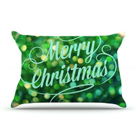 "Robin Dickinson ""Merry Christmas"" Green Pillow Case"