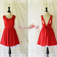 A Party Dress V Dress Red Backless Dress Beautiful Party Prom Dress White Lace Layers Cocktail Wedding Bridesmaid Dresses Custom Made XS-XL