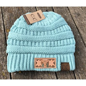 Cow Skull and feathers Mint Beanie Hat with Pom Tooled Leather Patch Hat