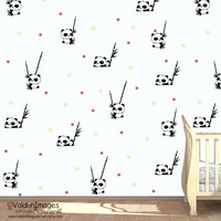 Panda dear pattern decal, nursery wall decal, nursery wall decor, bamboo wall decal, pattern wall decal, nursery decals, tree wall decal