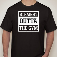 Mens t-shirt. Straight Outta The Gym. Mens t-shirts. Mens clothing. mens black tshirt. funny tshirts. straight outta compton. parody.