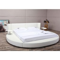 King Size Round White Faux Leather Platform Bed with LED Headboard & Nightstands