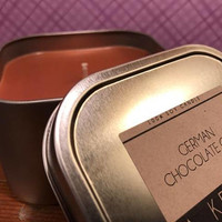 German Chocolate Cake Candle Hand Poured 12 oz Tin, delicious scent, bakery candle, gift for anyone, Made in USA, Small batch, Free Shipping