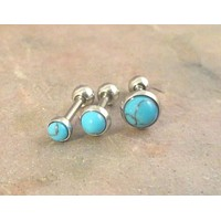 Set of 3 Turquoise Blue Triple Helix Cartilage Earring Internally Threaded Tragus Helix Piercing