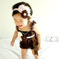 Thanksgiving, Chocolate Brown Romper set, toddler outfit, baby girls outfit, Birthday outfit,baby girls, flower girls,Halloween, Fall outfit