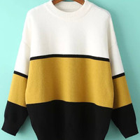 Black and Yellow Color Block Loose Sweater