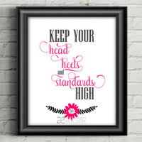 "Printable Wall Art / Motivational Poster / Bedroom Wall Hanging / Room Decor / Nursery Art / Hot Pink, Black, White - 8""x10"" - PDF & JPEG"
