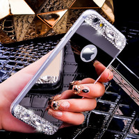 Luxury Gold Mirror Case For iPhone 7 6 4.7 6S /6S 7 Plus Glitter Diamond Acrylic Soft Slim Phone Cover For iPhone 6/6S Plus 5.5