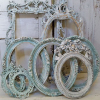 Blue ornate large frame grouping shabby chic distressed cottage wall and home decor Anita Spero