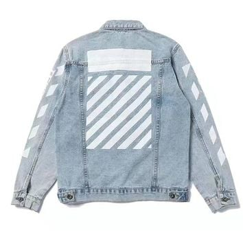 OFF WHITE  Fashion Distressed Denim Cardigan Jacket Coat
