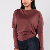 Throw It On Sweater - Burgundy
